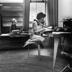 Eileen Ford Working the Phones at the Ford Modeling Agency, 1948 by Nina Leen