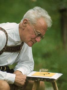 Ethologist Karl Von Frisch Testing the Ability of Bees to Perceive Color in His Home Garden by Nina Leen