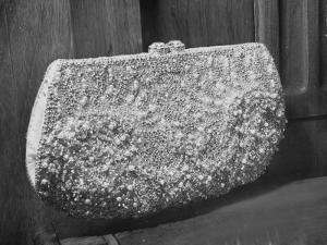 First Lady Mrs. Dwight D. Eisenhower's Inaugural Jeweled Purse Encrusted with 3,456 Pink Pearls by Nina Leen