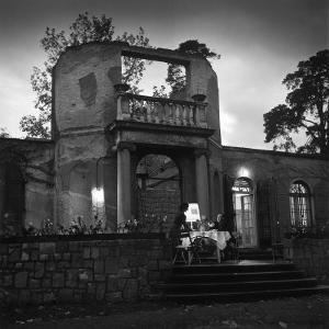 Frau and Herr Fritz Kehl Dining on Terrace of their Bombed-Out Villa by Nina Leen