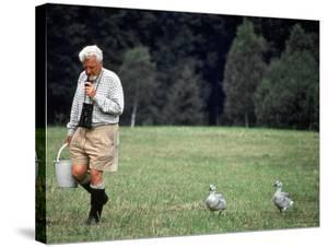 Grayleg Geese Follow Austrian Ethologist Konrad Lorenz who Taught them to Accept Him as its Mother by Nina Leen