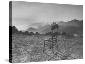 Lone Wooden Chair on Hillside Overlooking the Santa Lucia Mountain Range, California by Nina Leen
