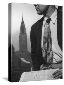 Male Model Wearing the Latest Trend with a photogrpahic fabric rendition by Nina Leen