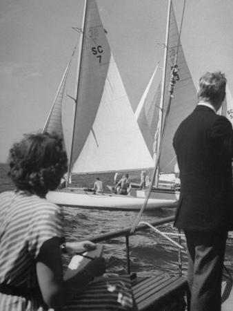 Men Lining their Sailboats Up at the Start Line at the Seawanhaka Yacht Club by Nina Leen