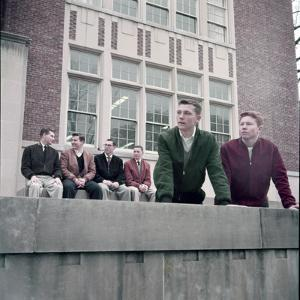 Midwest College Men's Fashion: Zipper Jackets Worn over Button Down Shirts with Sweater Vests, 1954 by Nina Leen