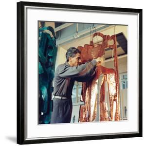 Mirko Basaldella, Post Wwii Modern Sculptor, Visits Harvard University During U.S. Tour, 1958 by Nina Leen