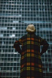 Model in a Long, Wool Coat with Plaid, Autumn Colors, New York, New York, 1954 by Nina Leen
