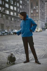Model in a Tom Brigance-Designed Outfit, Walks a Poodle on a City Street, New York, NY, 1954 by Nina Leen