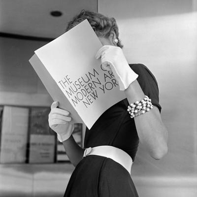 Model Jean Patchett Modeling Cheap White Touches That Set Off Expensive Black Dress