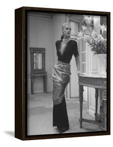 Modeling a Custom Made Evening Gown by Nina Leen