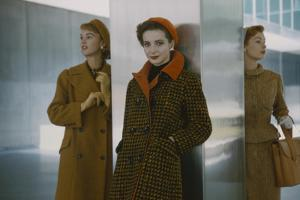 Models in Autumn Coats and Berets as They Pose Beside a Column in Lever House, New York, NY, 1954 by Nina Leen