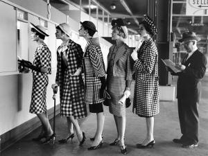 Models Wearing Checked Outfits, Newest Fashion For Sports Wear, at Roosevelt Raceway by Nina Leen