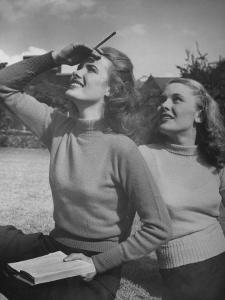 Models Wearing Wool Turtleneck Sweaters Representing the Latest College Fashions by Nina Leen