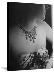 Mrs. Jacques Fath, Wife of Fashion Designer, Wearing Satin Evening Gown and Rhinestone Necklace by Nina Leen