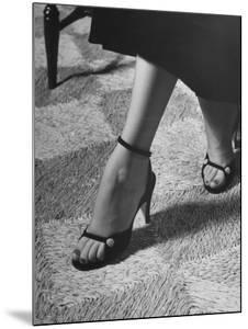 Naked Sandal by Julianelli Has Sparse Velvet Straps That Give It a Barefoot Look by Nina Leen
