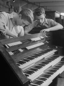 Organ Maker Students Michael Onuschko and Robert Morrow Working on Keyboard at Allen Organ Company by Nina Leen
