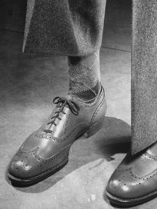 Pair of Men's Shoes, Illustrating One of the Shortages of Goods Because of the War by Nina Leen