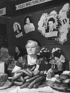 Polish Kielbasa Sausage Piled Among the Various Foods at the Women's International Exposition by Nina Leen