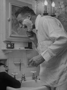 Singer Ezio Pinza, at Home with His Son, Singing and Shaving in the Bathroom by Nina Leen