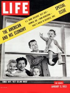 The American and his Economy, Family with Three Kids Taken, January 5, 1953 by Nina Leen