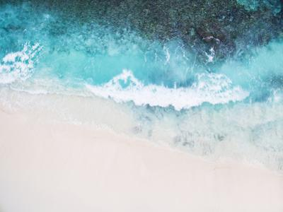 Beautiful Tropical White Empty Beach and Sea Waves Seen from Above by NinaMalyna