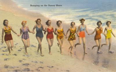 Nine Bathing Beauties Romping on Shore