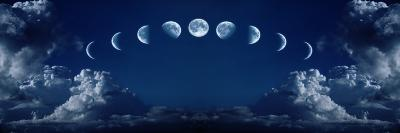 Nine Phases of the Full Growth Cycle of the Moon-korionov-Photographic Print