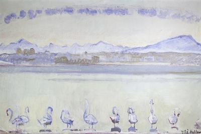 Nine Swans in Front of a Mountainous Landscape; Der Hafen Von Genf, Mit Neun Schwanen, Vom Quai Du…-Ferdinand Hodler-Giclee Print