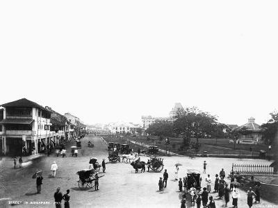 Nineteenth Century Street Scene in Singapore--Photographic Print