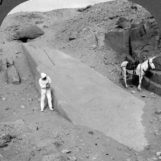 Ninety-Two Foot Obelisk Still Lying in the Quarry of Assuan (Aswa), Egypt, 1905-Underwood & Underwood-Photographic Print