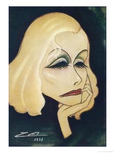 Greta Garbo Swedish-American Film Actress: a Caricature by Nino Za