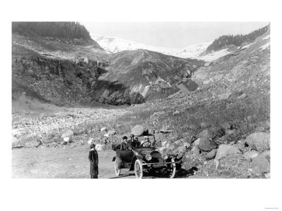 Nisqually Glacier, Rainier National Park - Rainier National Park-Lantern Press-Art Print