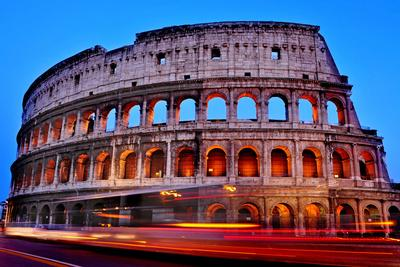 A View of the Flavian Amphitheatre or Coliseum at Sunset in Rome, Italy