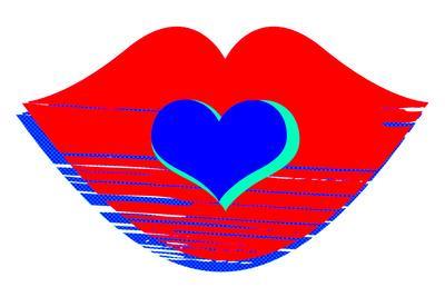 Valentine Illustration of Primary Colors