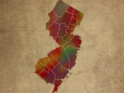 NJ Colorful Counties-Red Atlas Designs-Giclee Print