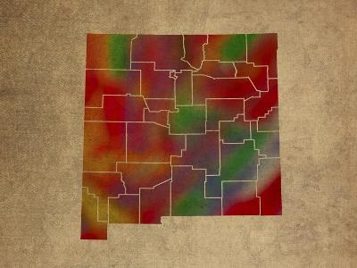 NM Colorful Counties-Red Atlas Designs-Giclee Print