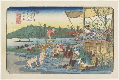 No.13 View of the Tori-Kawa River at Kuragano Station, 1830-1844-Keisai Eisen-Giclee Print