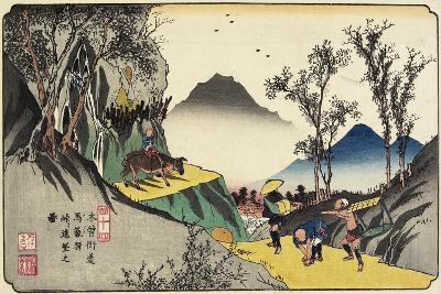 No.44 Distant View of Magome Station from the Pass, 1830-1844-Keisai Eisen-Giclee Print