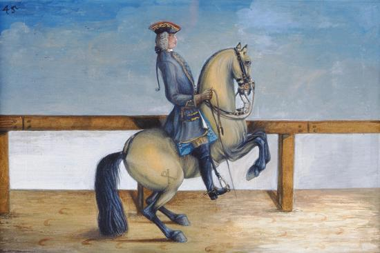 No. 45 a Horse of the Spanish Riding School Performing a Dressage Movement Called the 'Courbette'-Baron Reis d' Eisenberg-Giclee Print