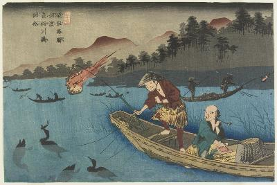 No.55 Cormorant Fishing Boat at Nagae River Near Koto Station, 1830-1844-Keisai Eisen-Giclee Print