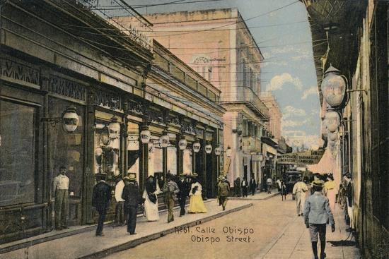 No. 61. Calle Obispo. Obispo Street, Havana, Cuba, c1910-Unknown-Giclee Print