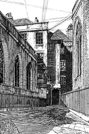 'No. 8, Clifford's Inn, and Hall on Left', 1903-Unknown-Giclee Print