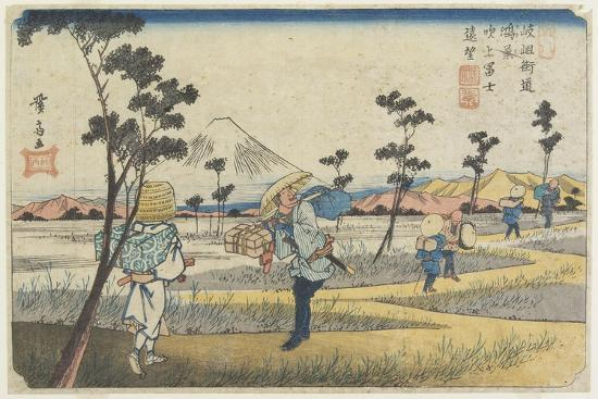 No.8 Distant View of Mt. Fuji as Seen from Fukiage Near Konosu Station, 1830-1844-Keisai Eisen-Giclee Print