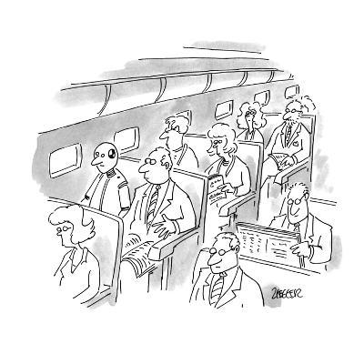 No caption. A passenger on a plane looks at crash test dummy sitting in th? - New Yorker Cartoon-Jack Ziegler-Premium Giclee Print