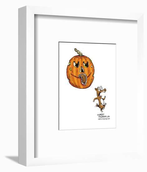 No caption.  (Squirrel runs in terror after jack-o-lantern has bitten off its tail.)-Speed Bump-Framed Art Print