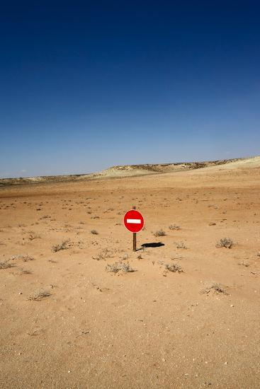 No-Entry Sign in the Desert-Johan Swanepoel-Photographic Print