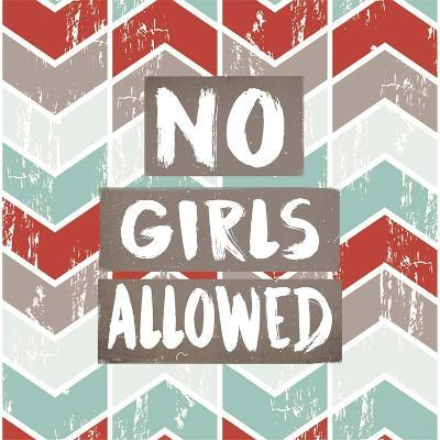 No Girls Allowed Chevron Pattern Red-Color Me Happy-Art Print
