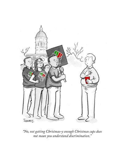 """""""No, not getting Christmasy-enough Christmas cups does not mean you unders?"""" - Cartoon-Benjamin Schwartz-Premium Giclee Print"""