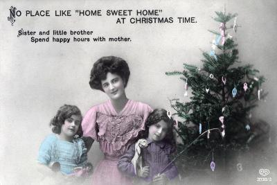 No Place Like Home Sweet Home at Christmas Time, Greetings Card, C1900-1919- Schwerdffeger & Co-Giclee Print