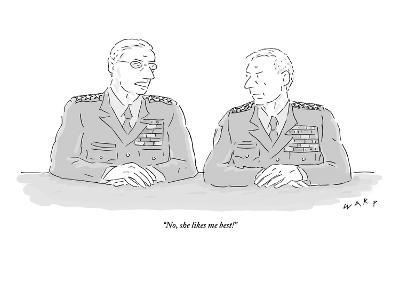 """No, she likes me best!"" - New Yorker Cartoon-Kim Warp-Premium Giclee Print"
